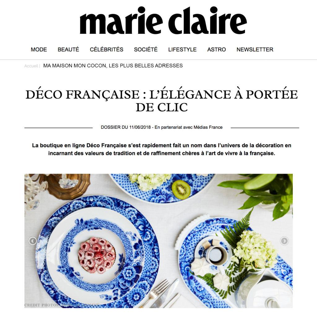 Article Déco Française pour Marie Claire