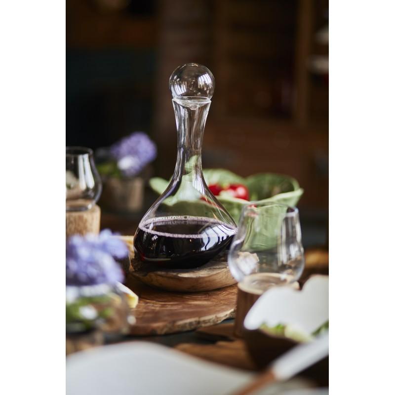 Carafe Érosion en bois de teck et verre soufflé bouche de Joe Sayegh