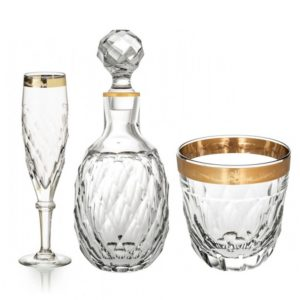 Verres et carafe en cristal Palazzo Gold de Vista Alegre